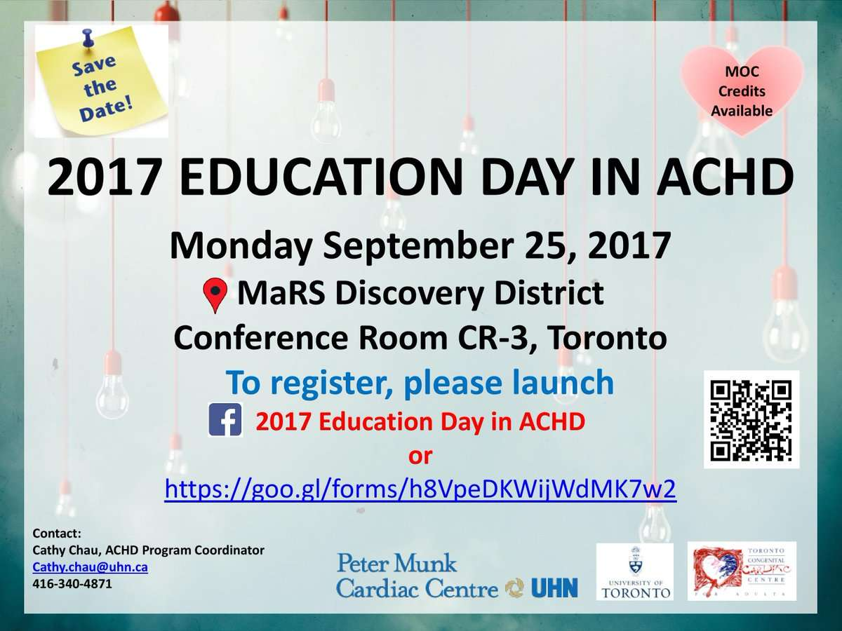 The Toronto Congenital Cardiac Centre for Adults (TCCCA) is holding its second annual Education Day in Adult Congenital Heart Disease (ACHD) on September 25, 2017 at the MaRS Discovery District, Conference Room CR-3.